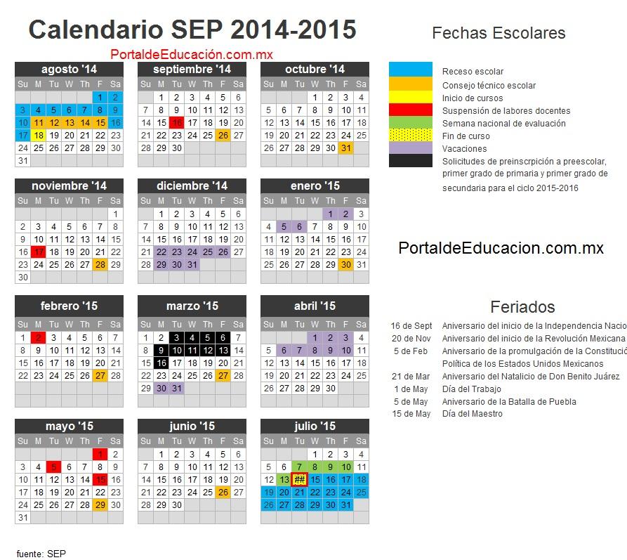 Calendario Escolar Sep 2014 2015 Mexico